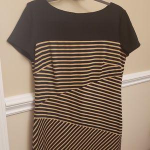 Black/yellow asymmetrical striped Shift Dress
